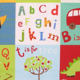 Letterbox - Primary - Multicolour checked cotton kids fabric with alphabet design