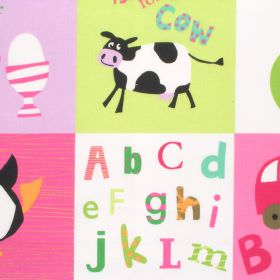 Letterbox - Pink - Kids pink and green checked cotton fabric with alphabet design