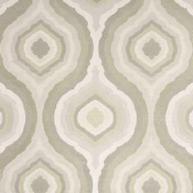 Magnesium - Linen - Various shades of cream, beige and grey making up a repeated concentric pattern on fabric made entirely of polyester