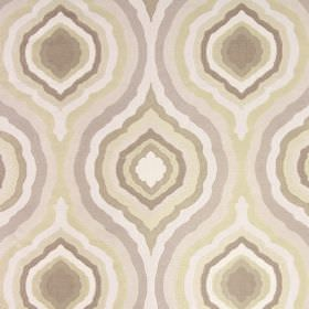 Magnesium - Oyster - Fabric made from 100% polyester with a concentric, repeated pattern in shades of cream, pale grey, beige and light brow