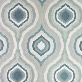 Magnesium - Teal - A repeated, concentric pattern on fabric made from 100% polyester in shades of blue and cream