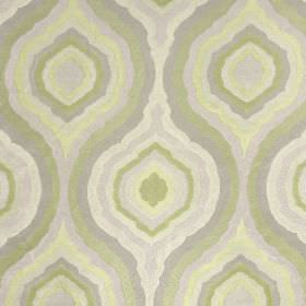 Magnesium - Citron - Dusky forest green, cream and light grey coloured fabric made entirely from polyester with a repeated concentric patter