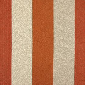 Nickel - Tango - Striped fabric made from 100% polyester in burnt orange, terracotta and cream with a scribbled line pattern over the top