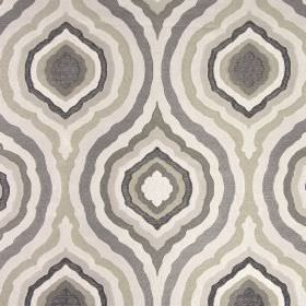Magnesium - Mocha - Concentric pointed oval patterns on fabric made from 100% polyester in shades of grey, brown, cream and beige