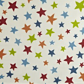 Superstar - Paintbox - Star print 100% cotton fabric with a lime green, maroon, light orange, navy and sky blue stars on a white background