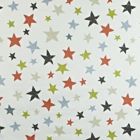 Superstar - Orange - Fabric made from 100% cotton, printed with different sized stars in charcoal and light shades of red, green, grey & blu