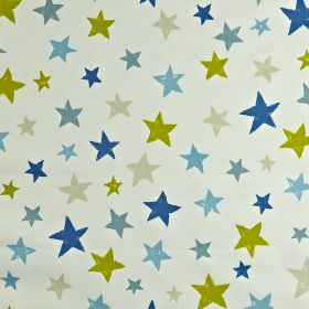 Superstar - Denim - Various different shades of blue, with some light grey and lime green, making up a fun star print on 100% cotton fabric