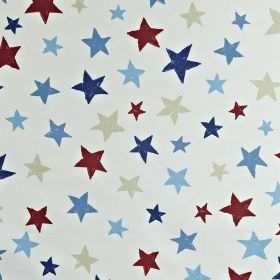 Superstar - Marine - White 100% cotton fabric printed with different sized stars in maroon, pale grey and various different shades of blue