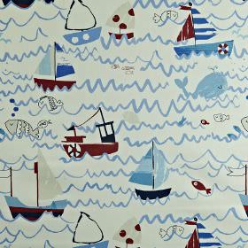 Waves - Marine - Children's ocean themed 100% cotton fabric, made in white, red and shades of blue, with waves, whales, boats and fish