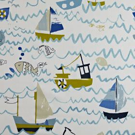 Waves - Denim - White, green, navy, pale grey and shades of blue making up a sea, boat, fish and wave print design on 100% cotton fabric