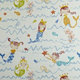 Mermaid - Azure - Mermaid themed 100% cotton fabric printed in light orange, maroon, lime green and shades of blue, on a white background