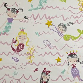 Mermaid - Pretty pink - 100% cotton children's fabric printed with waves and mermaids in lilac, yellow, charcoal, lime green, teal and maroo