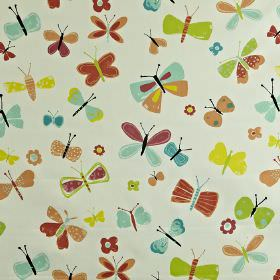 Florence - Mango - Children's 100% cotton fabric printed with a fun butterfly print in yellow, lime green, paprika, sky blue & nude colours