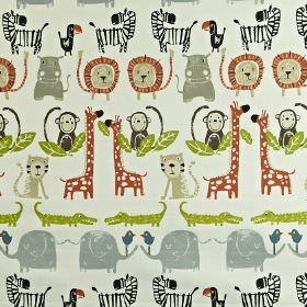 Snappy - Orange - 100% cotton fabric printed with jungle themed animals such as giraffes, hippos and more in paprika, grey & green shades