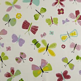Florence - Petal - Yellow, maroon, lilac and shades of grass green making up a fun children's butterfly print on white 100% cotton fabric