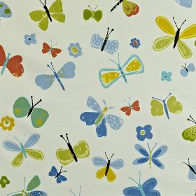 Florence - Azure - Fabric made from 100% cotton, with a fun children's butterfly print in white, terracotta and bright shades of blue and green