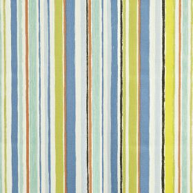 Zoom - Azure - Vertically striped 100% cotton fabric, featuring bands of different widths in white, salmon pink, & light blues & greens