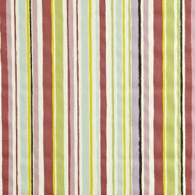 Zoom - Pretty pink - 100% cotton fabric patterned with a vertical stripe design in white, lilac, black, light green, blue, gold and mulberry