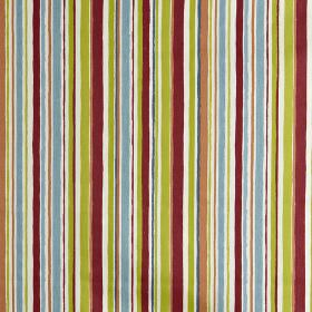 Zoom - Paintbox - Burgundy, apple green, sky blue and white coloured 100% cotton fabric printed with an irregular vertical stripe design