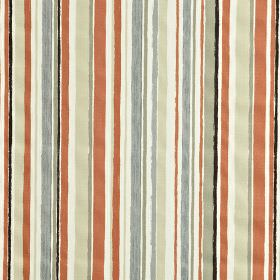 Zoom - Orange - Black and various light shades of red, blue and grey making up an irregular vertical stripe pattern on 100% cotton fabric