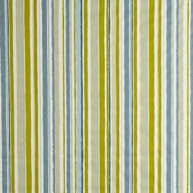 Zoom - Denim - Fabric made from vertically striped 100% cotton in apple green, light grey, white and several light shades of blue