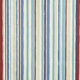 Zoom - Marine - 100% cotton fabric featuring an irregular vertical stripe design in burgundy, white and light shades of blue and grey