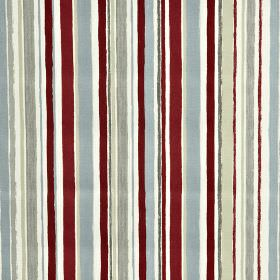 Zoom - Graphite - Burgundy, white and light shades of blue and grey making up a vertical stripe design on fabric made from 100% cotton