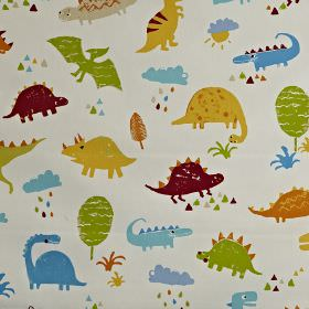 Dino - Paintbox - Dinosaur themed 100% cotton fabric with a maroon, gold, blue, orange and green children's design on a white background