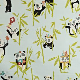 Panda - Aqua - Lime green bamboo with pandas wearing headdresses, holding kites & sitting with flowers, on pale blue 100% cotton fabric