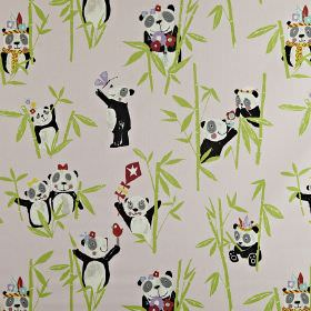 Panda - Pretty pink - Children's panda and bamboo print 100% cotton fabric, with headdresses, birds, flowers, kites, scarves and butterflies