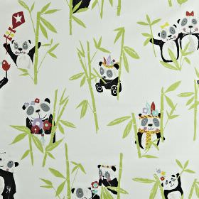 Panda - Bamboo - Off-white 100% cotton fabric printed with light green bamboo, black and white pandas, and multicoloured flowers and birds