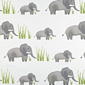 Jumbo - Elephant - Blades of light green grass printed with large & small elephants shaded in grey on a white 100% cotton fabric background