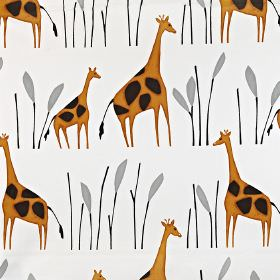 Geoffrey - Giraffe - Rows of large and small warm caramel & cocoa coloured giraffes printed with tall grey grass on white 100% cotton fabric
