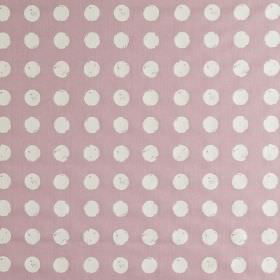Zero - Petal - Roughly printed white polka dots printed in rows on lilac coloured 100% cotton fabric