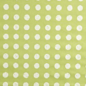 Zero - Apple - Pale grass green and white 100% cotton fabric, featuring a pattern of roughly printed polka dots