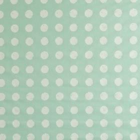 Zero - Aqua - Fabric made from 100% cotton, featuring a roughly printed white polka dot design on a pale sky blue coloured background