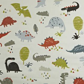 Dino - Orange - Shades of grey, red and olive green making up a children's dinosaur print on fabric made from 100% cotton