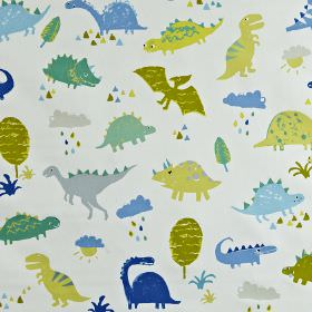 Dino - Denim - Fabric made from 100% cotton with a dinosaur print in various different bright shades of blue and green