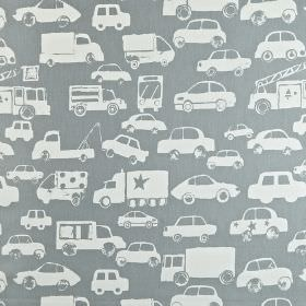 Go - Graphite - White cars and trucks printed on an iron grey 100% cotton fabric background
