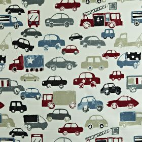 Stop - Graphite - Car print 100% cotton fabric made in various different shades of blue-grey, with pale grey and deep maroon