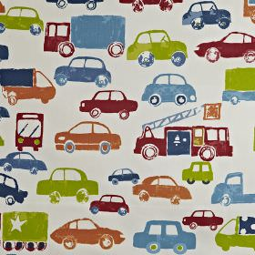 Stop - Paintbox - Lime green, sky blue, light orange and wine coloured cars and trucks printed on white 100% cotton fabric