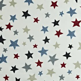 Superstar - Graphite - Very pale grey-white 100% cotton fabric printed with stars of different sizes in maroon, light grey and shades of blu