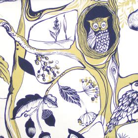 Squirrels Chase - Straw - Images of woodland creatures in straw yellow on white fabric