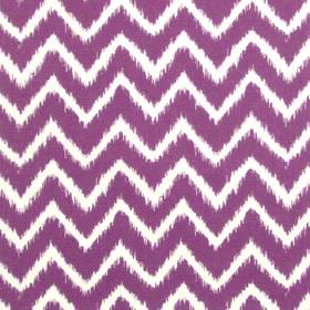 Twine - Rhubarb - Rhubarb purple horizontal zigzags on white fabric