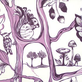 Squirrels Chase - Rhubarb - Images of woodland creatures in rhubarb purple on white fabric