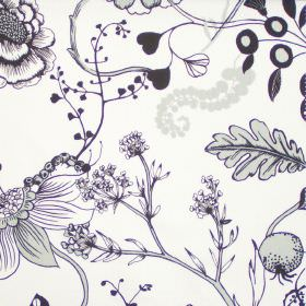 Herb Garden - Charcoal - Backgarden flowers in charcoal black on white fabric