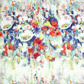 Flower Garden - Fresco - Shades of orange, white, cream and navy blue making up an abstract painted pattern on fabric made from linen and co