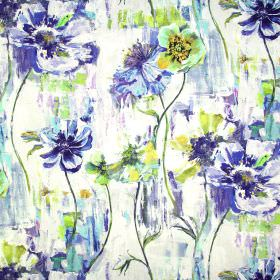 Poppy - Indigo - A shaded floral design in shades of navy, white and lime green with a painted watercolour effect on fabric in white