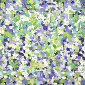 Raindrops - Indigo - Fabric made from linen and cotton, covered with a dabbed paint effect in white, green and bright blue colours