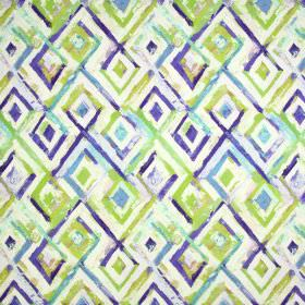 Jewel - Indigo - Diamond patterned fabric containing linen and cotton, with a painted effect in bright shades of blue, white & lime green